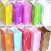Бумажный мешок мини стоячий красочный горошек сумки 18x9x6 см, подарочная упаковка с открытым верхом, бумажный подарочный пакет
