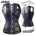 Faux Leather Corset Steampunk Corsets and Bustiers Slimming Underwear Black Sexy Girdles Shapewear Zippered Corset Black S-6XL