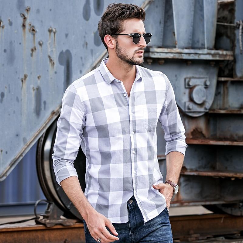 GustOmerD 2018 New Men's Shirt Slim Fit Long Sleeve Casual B