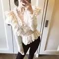 Vadim Limited Volledige Koreaanse 2019 Lente Hot vrouwen Lace Shirt Retro Stiksels Holle V hals Dames Slanke Vrouwen Blouse Womens tops