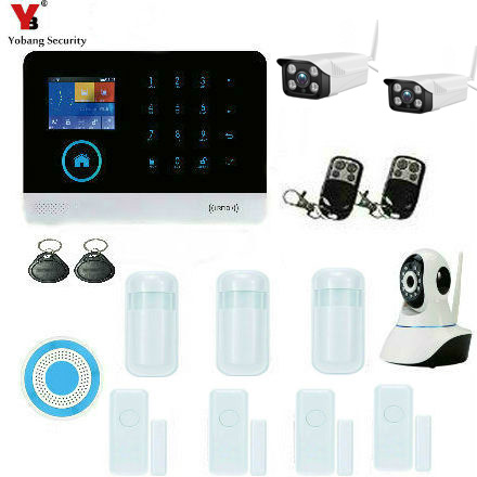 YobangSecurity Wifi GSM Wireless Home Burglar Security System With Outdoor Waterproof WIFI IP Camera Auto Dialer Android IOS APP yobangsecurity wireless wifi gsm burglar home security alarm system diy kit auto dial ios android app control home security