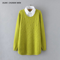 XUANCHURANWEN Plus Size Women Long Sweater Turn Down Collar Bottoming Jumpers Faux Two Piece Pullovers Long