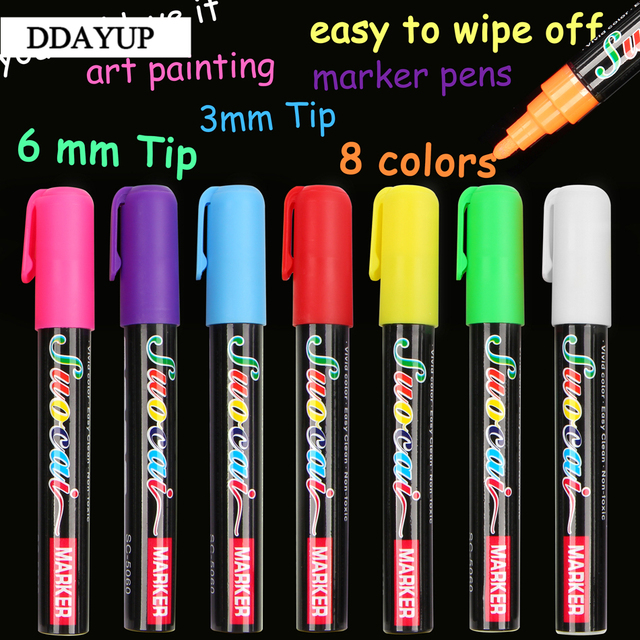 8 Colors Highlighter 3mm 6mm Fluorescent Liquid Chalk Marker Pen For School Art Painting Gift Stationery