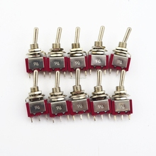 wholesale 10Pcs Red 3 Pin 3 Position (ON) OFF (ON) SPDT Mini Momentary Toggle Switch Automatic Return Middle