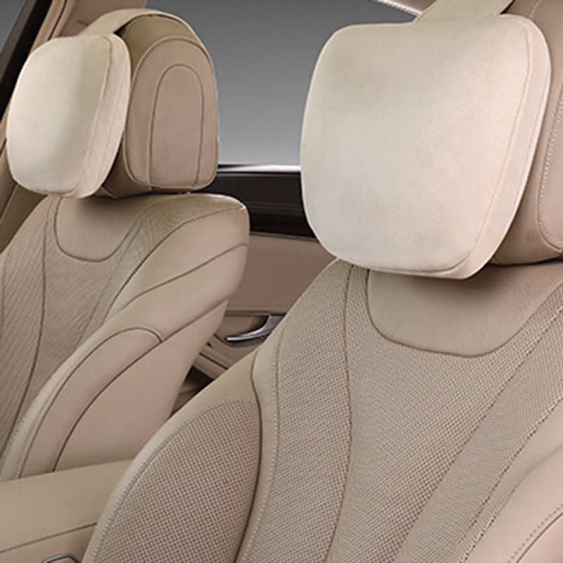 2 Pcs 자동차 Headrest Maybach 디자인 S 클래스 울트라 소프트 베개 스웨이드 패브릭 편안한 메르세데스-벤츠에 대 한