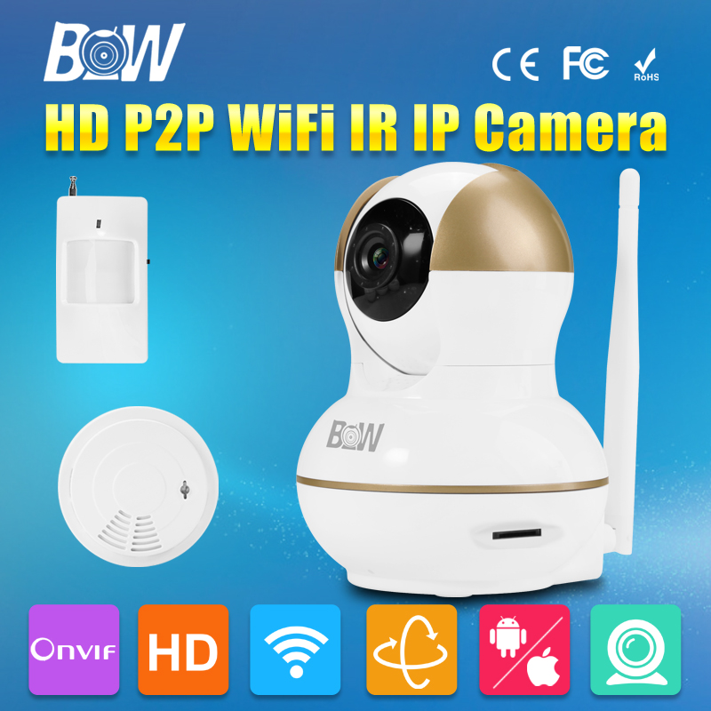 BW Wireless Wifi Mini IP Camera HD 720P IR-Cut Automatic Infrared Motion Sensor + Smoke Detector P/T Alarm Systems Security CCTV bw wireless wifi door