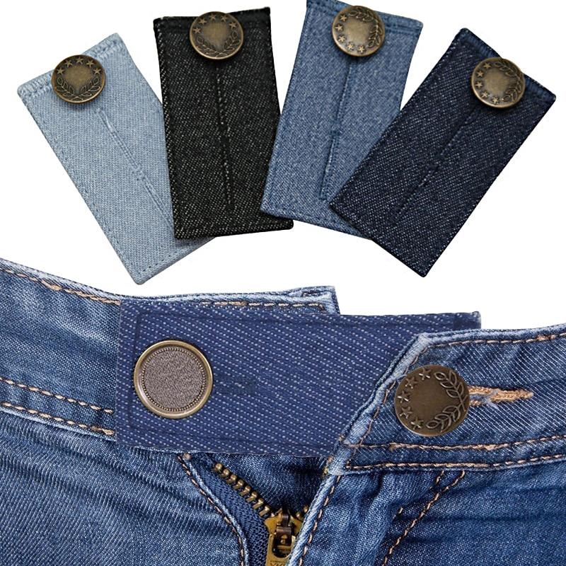 Для девочек и мальчиков; Юбки джинсовые брюки штаны прямого кроя талии расширитель пояс расширитель кнопки брюки эластичные удлинитель для...
