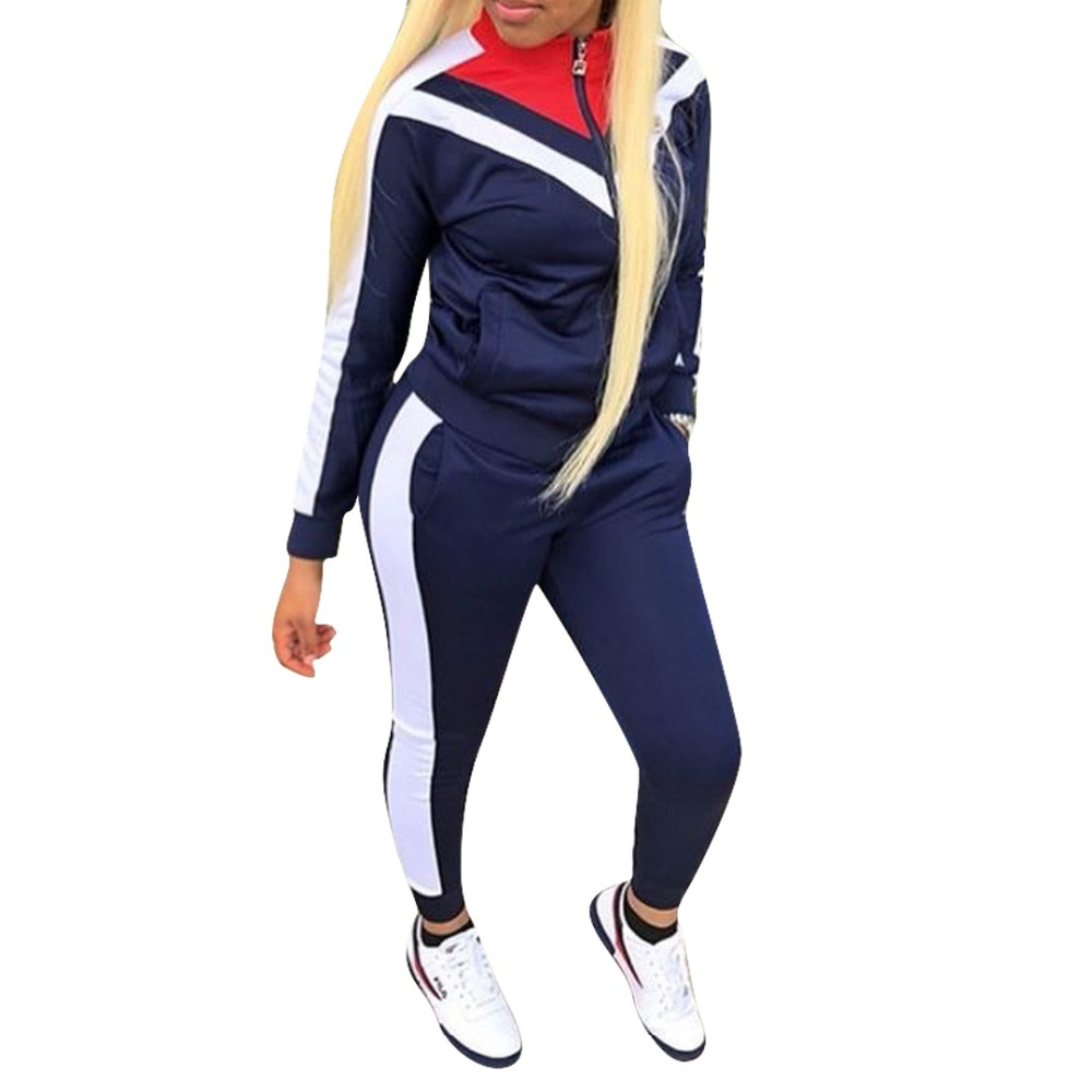Full Sleeve Patchwork Sexy Autumn Winter Tracksuit Women Set Outfit Fashion Two Pieces Suits Casual Overalls Jumpsuits 6032