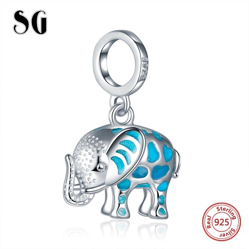 d7306566b331 Ajuste auténtico europeo encantos pulsera plata 925 lindo elefante  brillante colgante cuentas con esmalte diy joyería Fabricación de regalos  para mujeres ...
