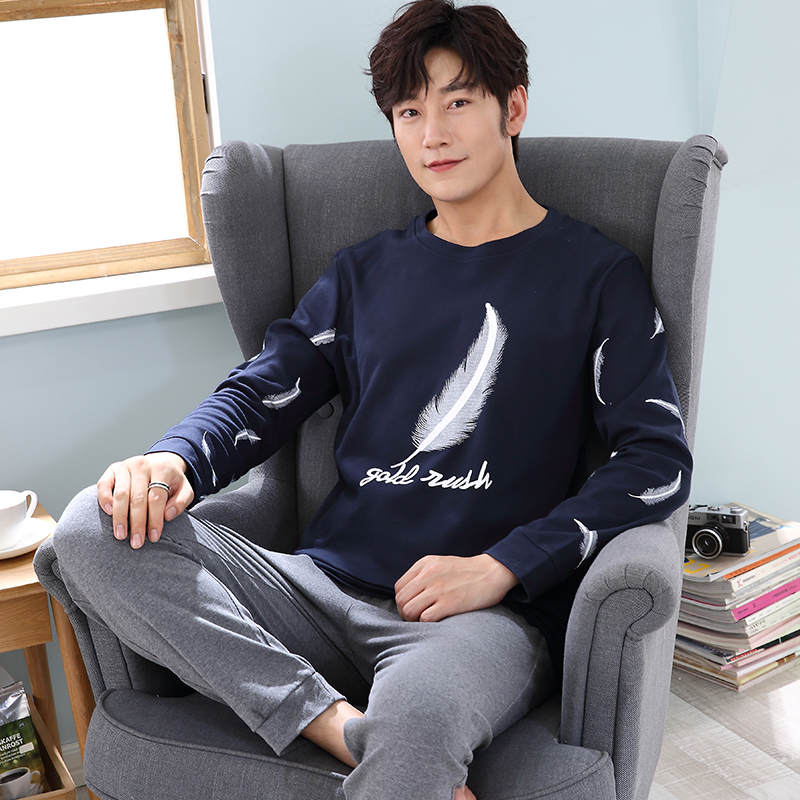 WAVMIT 2019 Men Pajamas Long Sleeve Spring Autumn Winter Male Pajama Set Men Pure Cotton Pajamas For Men Set Leisure Sleepwear