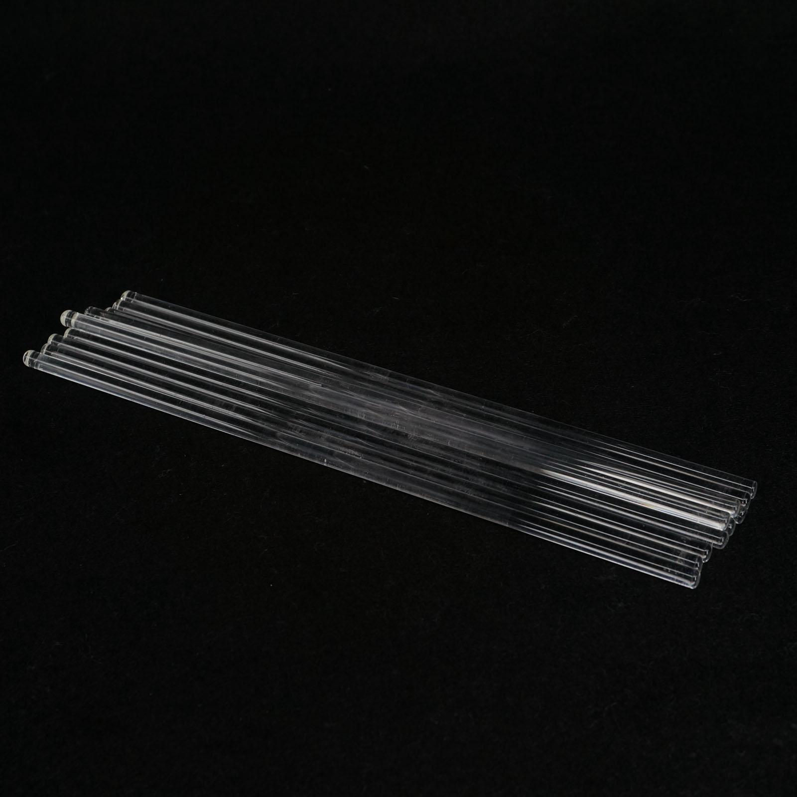 LOT10 6x200mm Lab Glass Stirring Rods Borosilicate High Resistant Stirrer