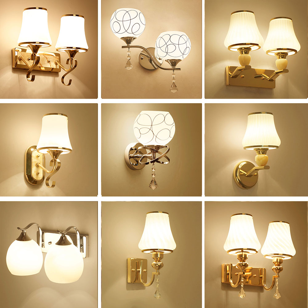 HGhomeart Glass Sconces Reading Lamps Wall Mounted 110V-220V Crystal Sconce Led Wall Lamp ...