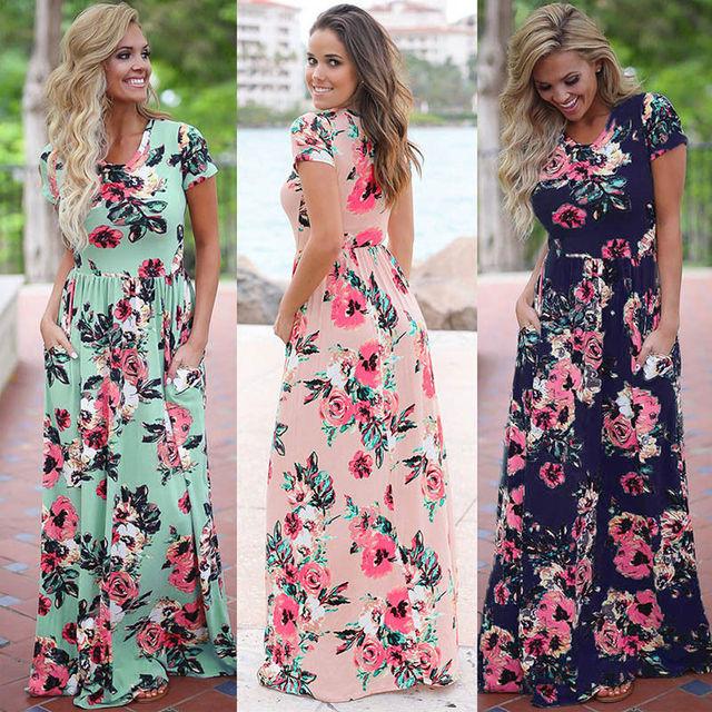 S-3XL Elegant Women Robe Summer 2018 Short Sleeve Printed Maxi Dress Fashion Sexy Boho Dress Tighten Waist Long Dress Vestidos 2