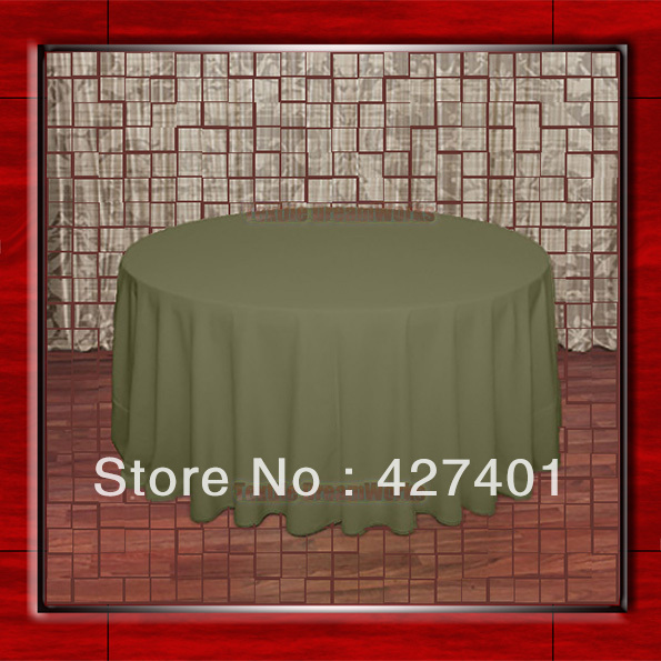 108R Olive 210GSM Polyester plain Table Cloth For Wedding Events & Party Decoration(Factory Direct Sales)