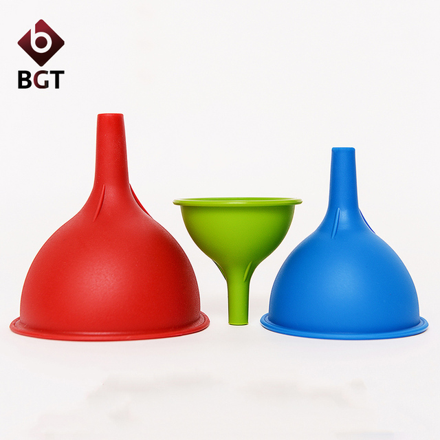 3pieceset silicone kitchen funnel for oil liquid kitchen cooking tools with 3 colors - Kitchen Funnel