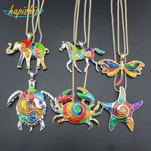 Hapiship 2017 New Fashion Wome's Jewelry Silver/Gold Tone Horse Starfish Elephant Crab Pendant 45cm Necklace Free Shipping LAH(China)