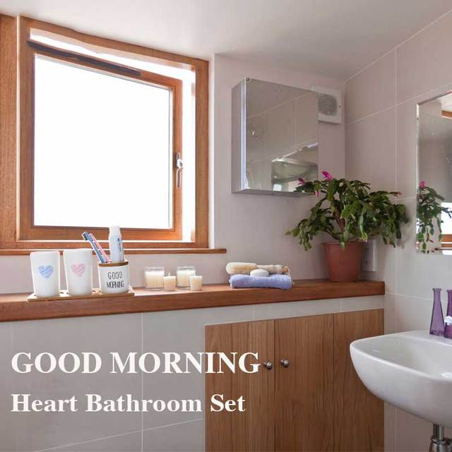 White Porcelain Bathroom Set Bamboo Tray