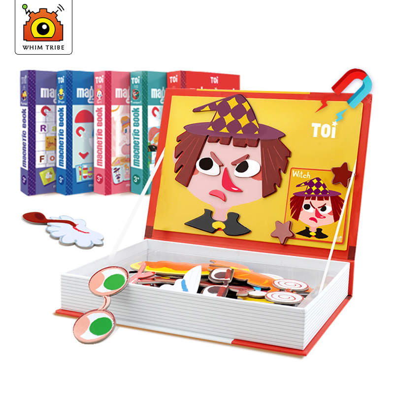 Children's magnetic puzzle magnetic tape book early teaching creative paper toy educational games kid's gift >3 years old