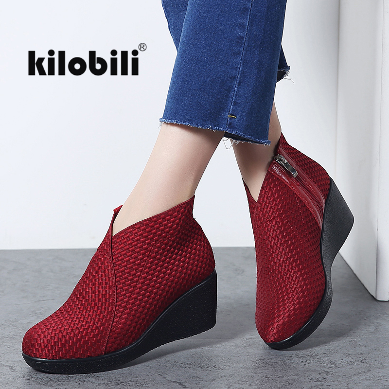 Kilobili 2018 Winter Ankle Boots Women Wedge High Heels Casual Black Bootie Shoes Zip Fabric Fashion Short Boots Ladies Creepers