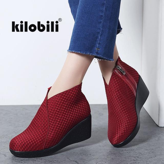 Kilobili 2018 Winter Stiefeletten Frauen Keil High Heels Casual Schwarz Bootie Schuhe Zip Stoff Mode Kurze Stiefel Damen Creepers