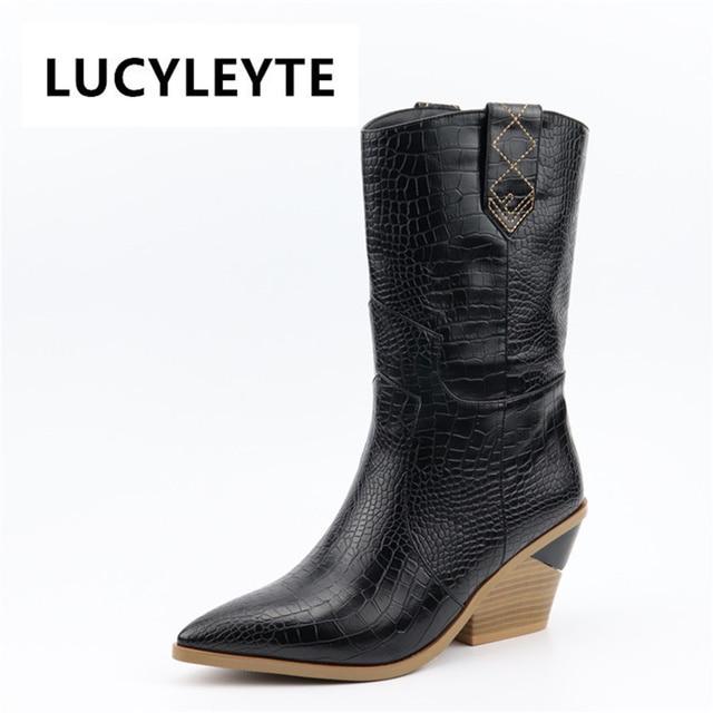 LUCYLEYTE marca primavera inverno Ins hot big size 46 degli alti talloni delle donne Scarpe Retrò breve stivali slip on scarpe da donna stivali western