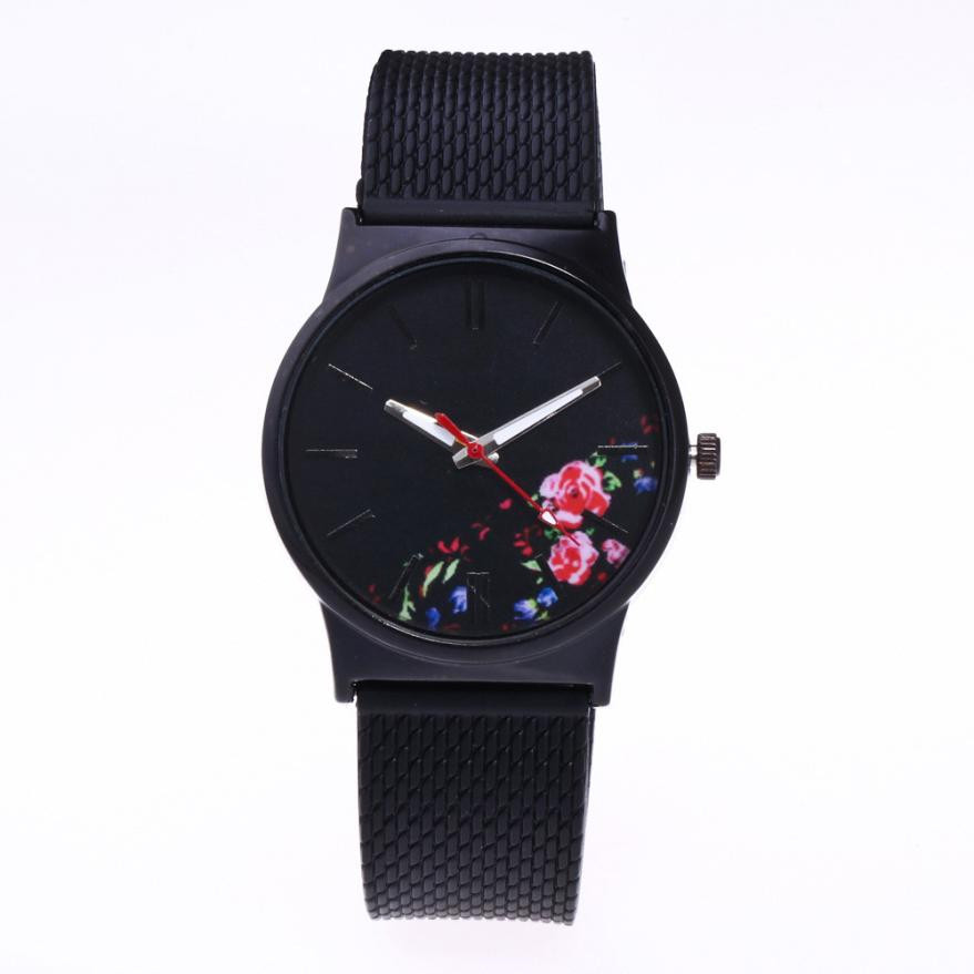 Simple Flower Women Analog Quartz Watch Men Top Brand Silicone Strap Black Wrist Watches Women's Casual Clock Relogio Reloj #LH fashion top gift item wood watches men s analog simple hand made wrist watch male sports quartz watch reloj de madera