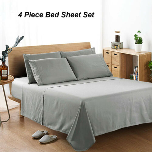 Luxury 4 PCs Gray Sheet Set 100% Egyptian 1800 Thread Count Fashion Solid Color Bedding Set Deep Pocket image