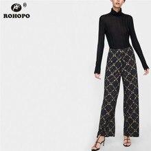 ROHOPO Vintage Printed Women Wide Leg Pant Office Ladies Full Length Bottoms #XZ1838