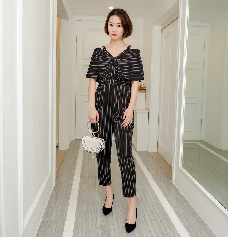Women Jumpsuit Striped Off The Shoulder Ruffles Sling Rompers Womens Jumpsuit Loose High Waist Summer Woman Overalls 2018 New 6