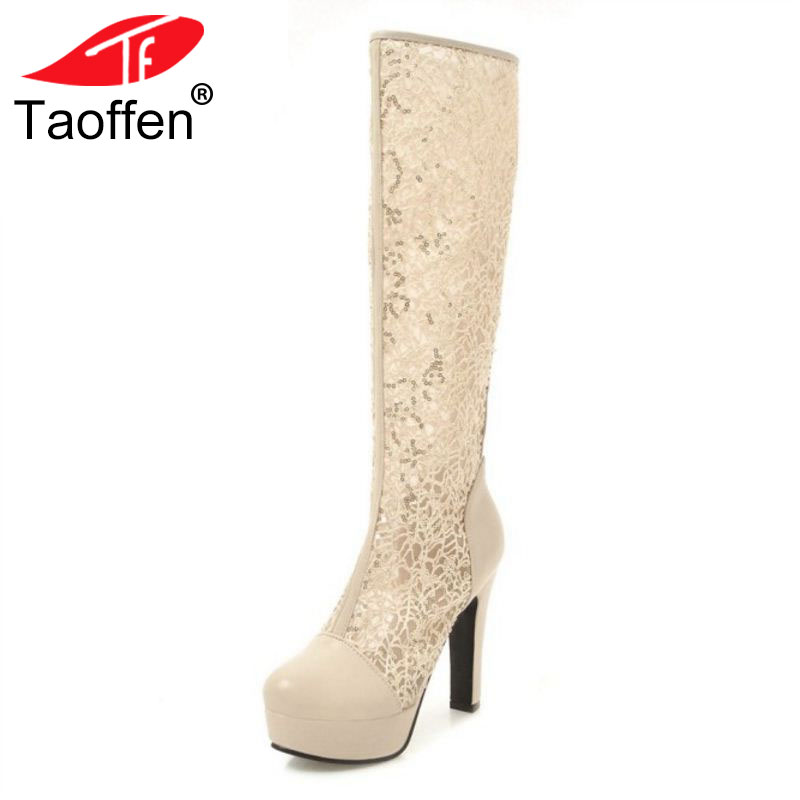 TAOFFEN Size 34-43 Women High Heel Boots Round Toe Platform Lace Knee Boots Female Sexy Fahsion Shoes Party Club Footwear taoffen women high heels shoes women thin heeled pumps round toe shoes women platform weeding party sexy footwear size 34 39