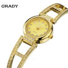 ГРЕЙДИ Часы женщины бренд золотые часы красивый подарок на день рождения Роскошные 18 К золото ремешок женские часы бесплатная доставка