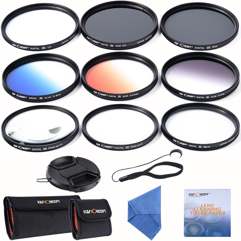 67mm slim UV CPL ND4+ Slim Blue Orange Grey Graduated colour +Macro Close Up +4 +10 +6 Point Star Lens Filter for Camera Lens