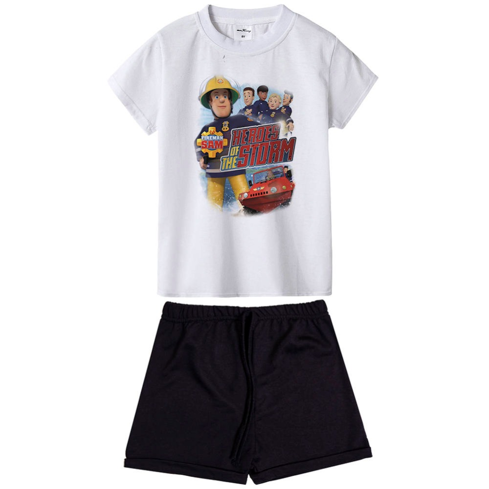 New Arrival FIREMAN SAM 2017 Kids Summer Clothes Sets Cartoon Printed T-Shirt+ Pant Kids Boy Clothing 2 PCS Set Children suit