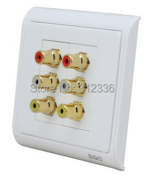 free shipping 86mm Two bit audio and Video RCA Jack DVD TV connection cabling multifunctional socket  Multi-Media Socket