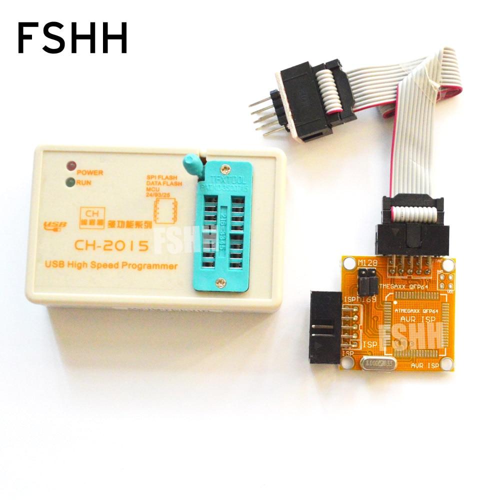 Купить с кэшбэком CH2015 Intelligent High Speed USB Programmer+TQFP32 TQFP44 TQFP64 AVR ISP interface with welded plate Programming AVR MCU