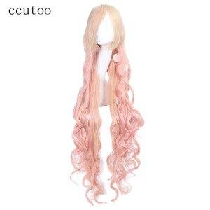 ccutoo Macross F Sheryl Nome 120cm Blonde Pink Mix Wavy Long High Temperature Fiber Synthetic Hair Cosplay Wigs Full Bangs(China)
