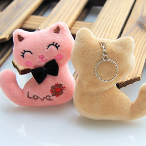 Image 2 - Size 8CM NEW Cat With Bow Plush Animal Stuffed Cat Key chain Toy Kids Party Plush Toy Bouquet Plush Dolls