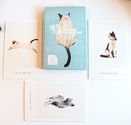 14.3cm*9.3cm Cat Life Paper Postcard(1pack=30pieces)