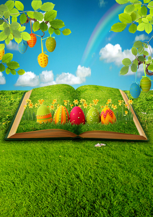 8 ft Vinyl cloth green field spring Easter photography backdrops for