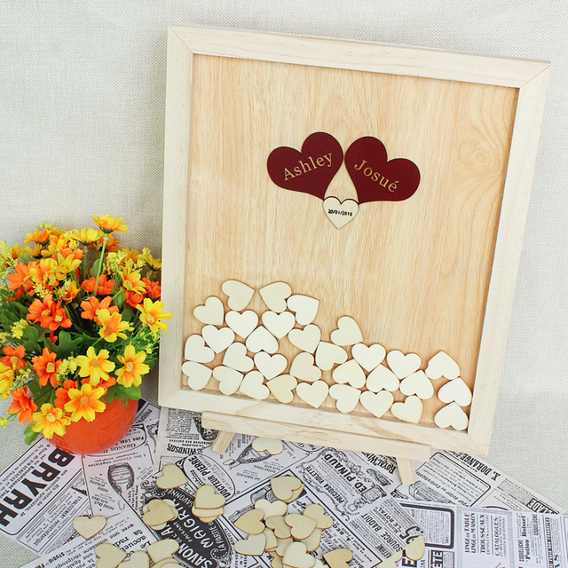 Personalized Wedding Guest Book Wooden Hearts Guestbook Alternatives Custom Drop Top Frame