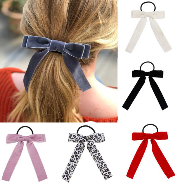 Xugar Hair Accessories Scrunchies Velvet Hair Bands for Women Leopard Bowknot Hair Rope Girls Rubber Bands Gum for Hair Ties