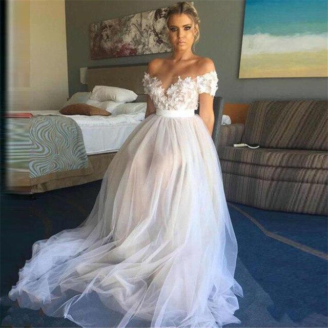 ビーチウェディングドレスaラインオフショルダーホワイトアイボリーアップリケレースチュールショートスリーブ花嫁衣装 2020 vestidoデnoiva