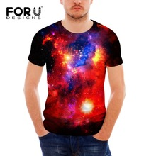 FORUDESIGNS  Popular Mens T-shirt Casual t shirt Men Tees Tops Galaxy Space Star Printing high quality tee for men S-XXL