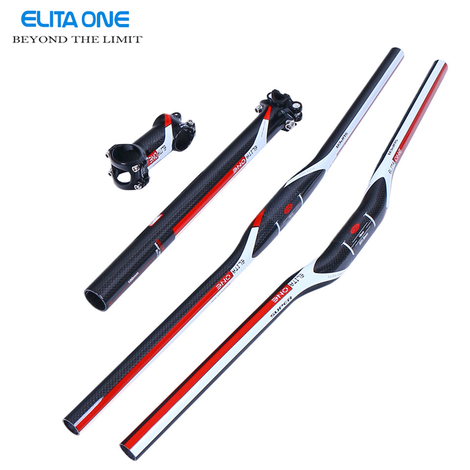 2016 Carbon Fiber MTB Bicycle Parts Set Carbon Flat or Riser Handlebar + Stem+ seatpost 3k glossy Bicicleta handlebar set cycling king c k 2015 mtb handlebar bicycle stem carbon seatpost tube flat or riser mountain bike bar top carbon super set
