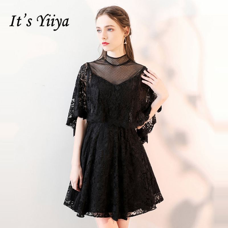 It's YiiYa   Cocktail     Dress   2018 Women Summer Party Lace Illusion Black Red Fashion Designer Elegant   Cocktail   Gowns LX979