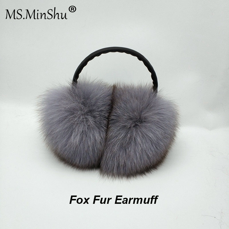 MS.MinShu Unisex Genuine Fox Fur Earmuff Headphone Ear Warmer Fashion Fox Fur Earmuffs Men Women Ear Covers