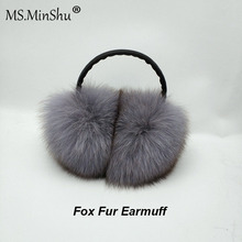 MS.MinShu Unisex Genuine Headphone Ear Warmer Fox Fur Earmuffs Men Women covers