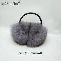 MS.MinShu Unisex Genuine Fox Fur Earmuff Headphone Ear Warmer Fashion Fox Fur Earmuffs Men Women Ear covers