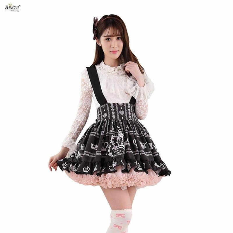 Femmes romantique au-dessus du genou, Mini Lolita bretelles jupes noir Polyester dentelle couronne impression robe de bal Lolita jupes courtes