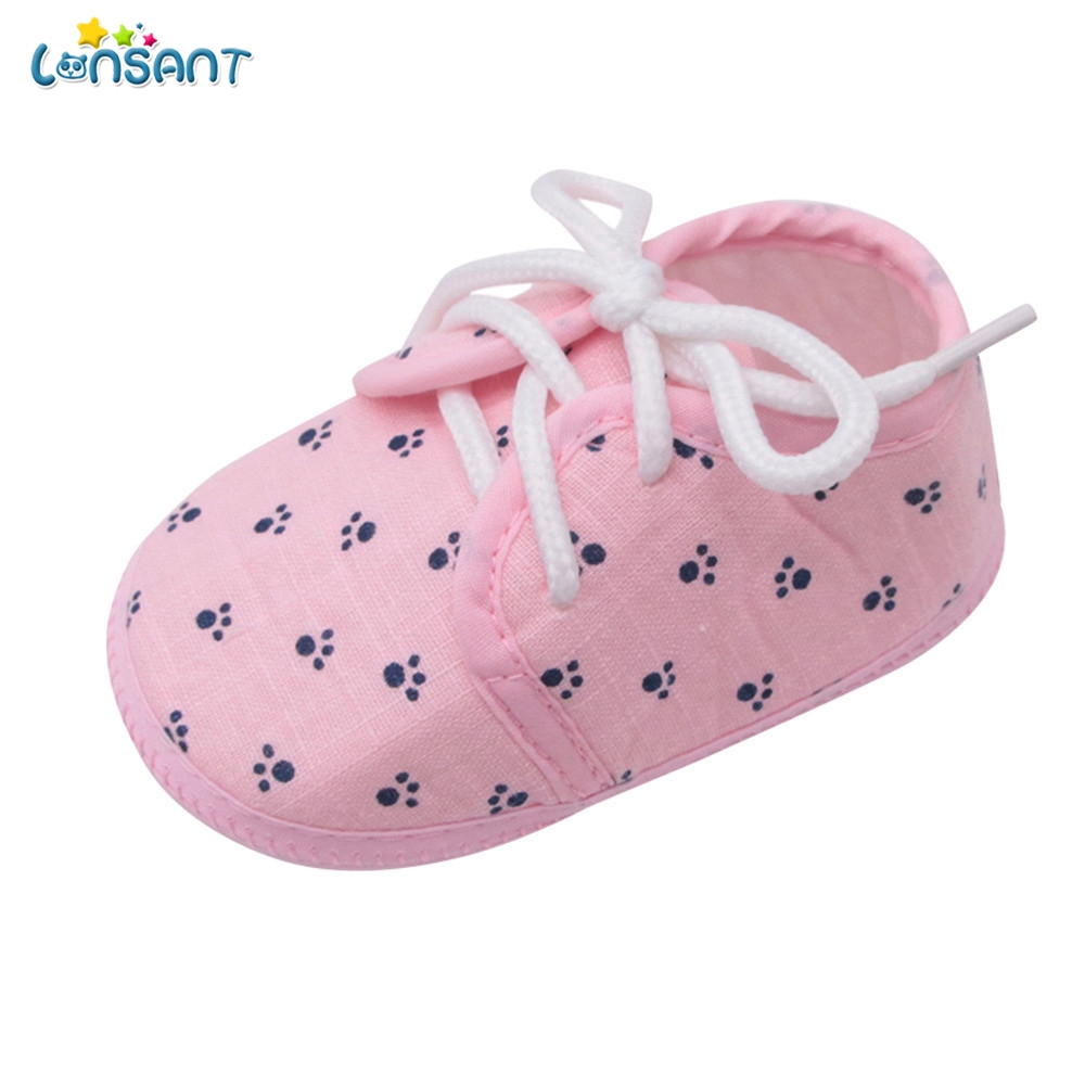 LONSANT New Summer Hot Cute Newborn Baby Girls Shoes Letter Footprint Plaid Anti-Slip Footwear Crib Baby Girls Shoes